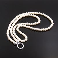 925 Sterling Silver Circle Clasp Freshwater Pearls Beads Necklace Fit Pendants Charms, Most Fashion Glam Jewelry for Women Men