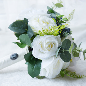 Image 5 - Kyunovia Green Alternative Wedding Centerpiece Toss Bouquet Rose Bridal Flower with Berries Mountain Meadow Wedding Bouquet FE48