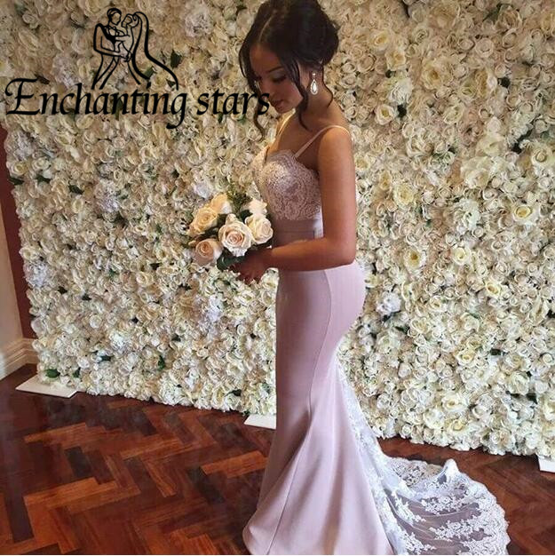 2017 Vestidos Formal Summer Evening Dresses Sweep Train Lace Appliques Spaghetti Straps Sweetheart Women Runway Fashion Gowns - Molibridal_ Store store