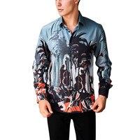YFFUSHI 2018 New Fashion Men Shirt Long Sleeve Happy Party Print Shirts Latest Design Slim Fit