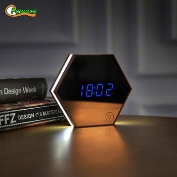Affichage LED numérique horloge de bureau horloge de Table numérique miroir réveil mural avec fonction Snooze thermomètre Luminance réglable
