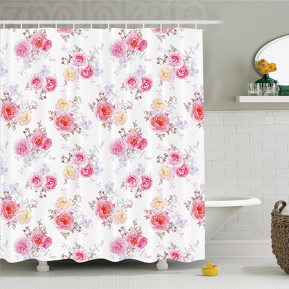 Flower House Minimal Romantic Pastel Roses Babies Breath and Leaves Watercolor Flower Pattern Polyester Bathroom Shower Curtain