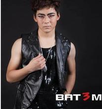 Black pink Singer stage Rivets males's leather-based vest males model roupas masculinas horny tank prime camisetas regatas sleeveless males 2XL