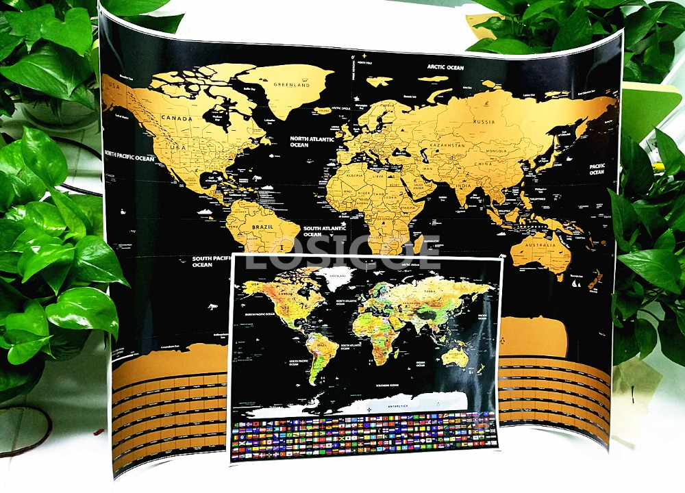 30X40 CM Mini Travel World Flag Scratch Map Gold Foil Black Scratch Map Wipe Foil Coating World Flag Map Luxury Travel Gift