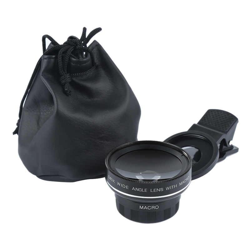 Universal Ultra Premium Telephoto Lens 37mm 0.45X 49UV Mobile Phone Macro Lens Wide Angle Clip External Selfie Lens