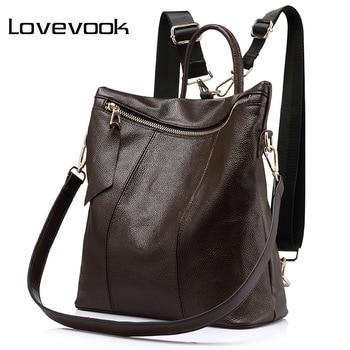 LOVEVOOK women backpack genuine leather school bags female shoulder crossbody bags ladies hand bags leather backpacks girls 2018