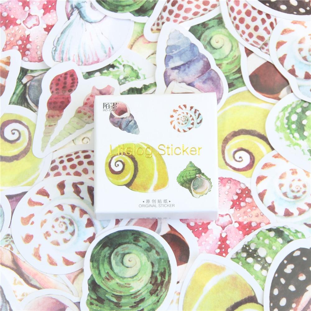 45 Pieces Box Of Mini Shell Stickers Card Wow Iraq Decorative Stationery Stickers Diy Album Diary