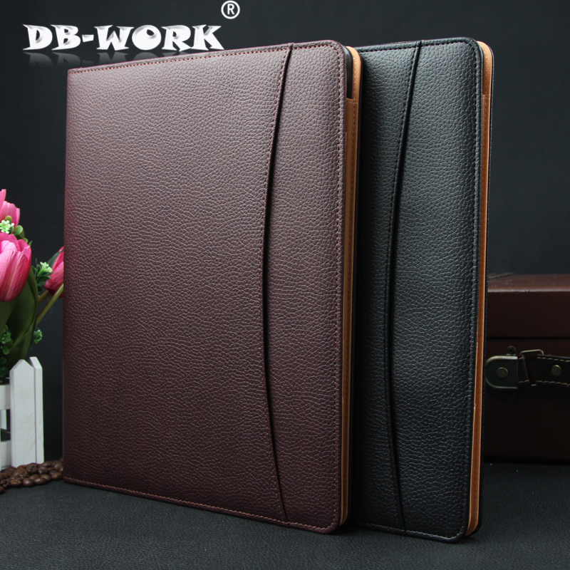 2017 Business office manager of leather multi-function folder high-grade leather A4 sales folders can be customized LOGO supply of quality white base burette 25ml a grade billable customized glassware