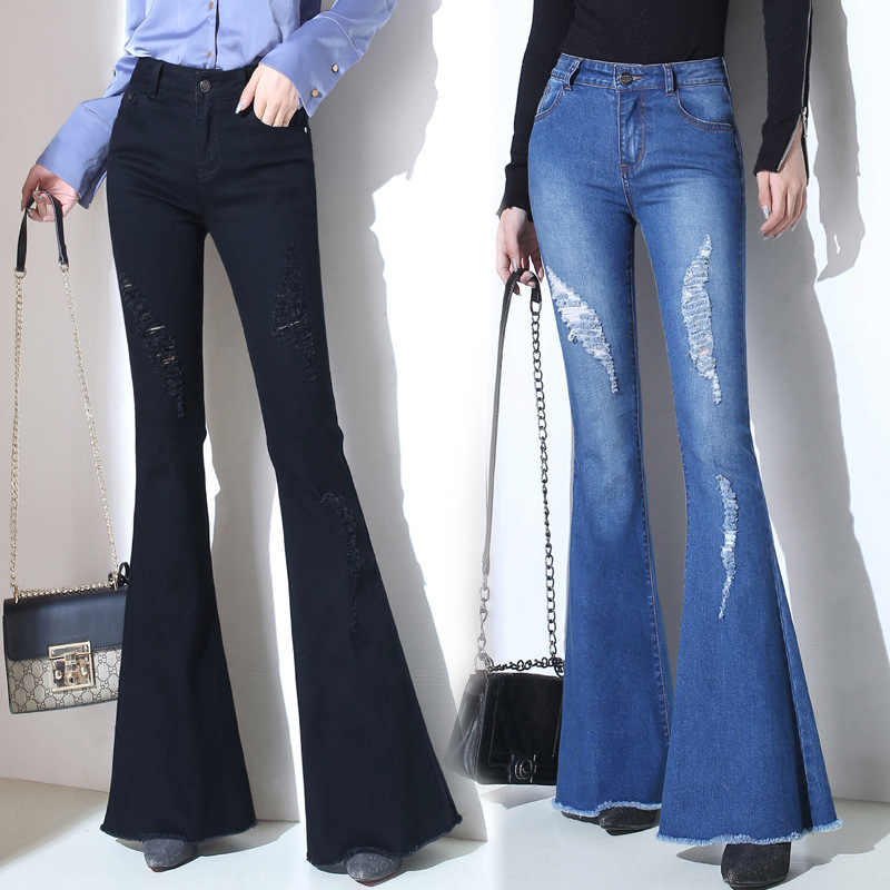 3745d2da51004f Plus Size Bell Bottom Jeans High Waisted Flare Jeans For Women Wide Leg Denim  Trousers Slim