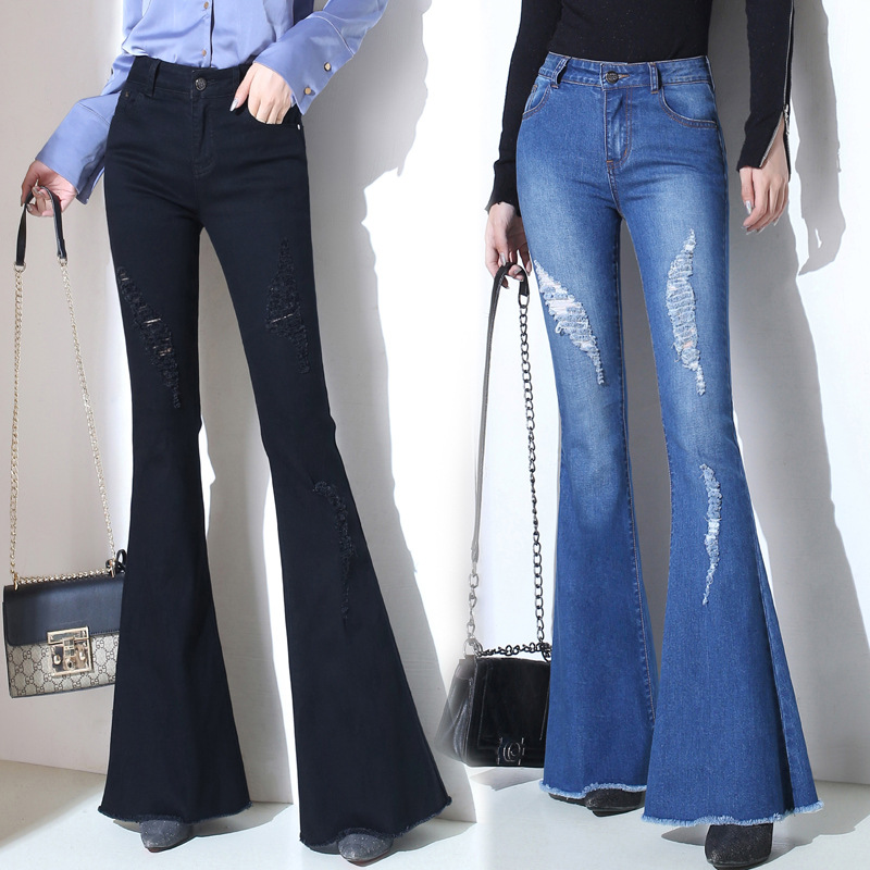 Plus Size Bell Bottom   Jeans   High Waisted Flare   Jeans   For Women Wide Leg Denim Trousers Slim Ripped Flare   Jeans   Femme Trumpet
