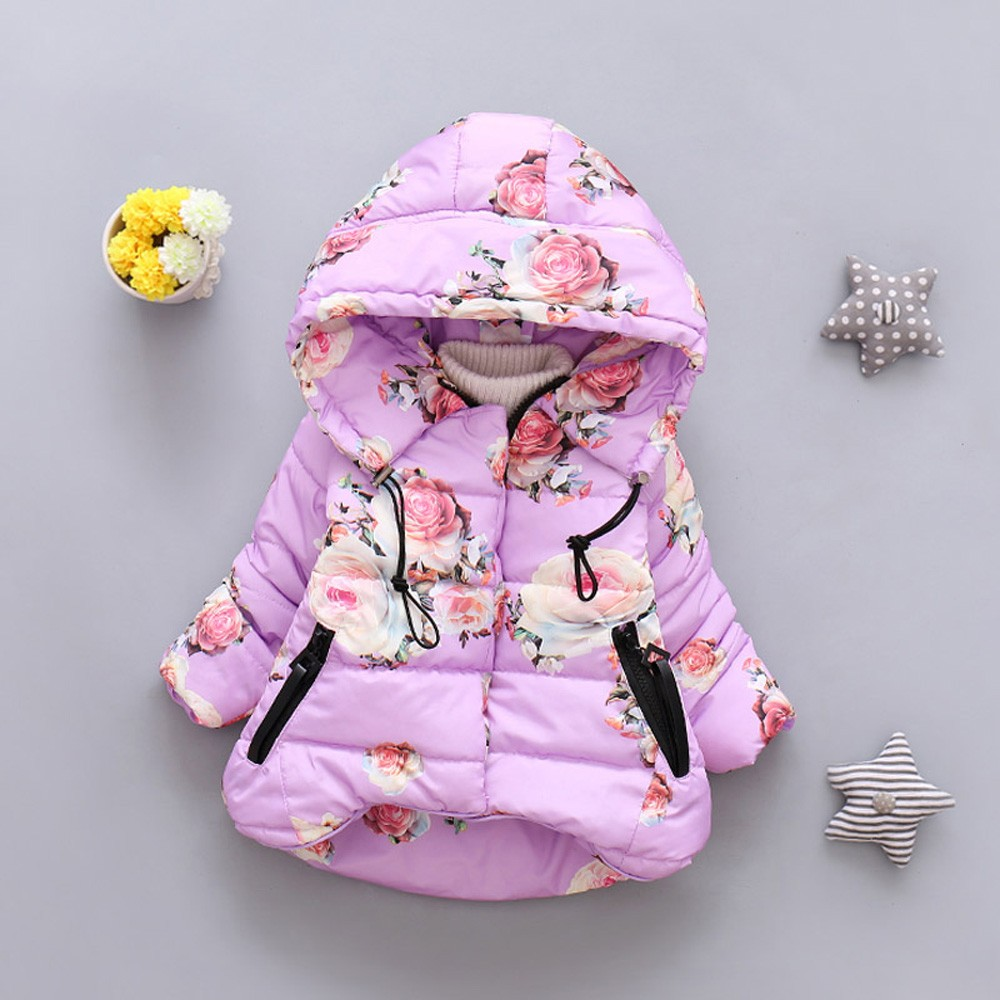 Toddler Baby Girls Boys Winter Floral Print Warm Jacket Hooded Windproof Coat