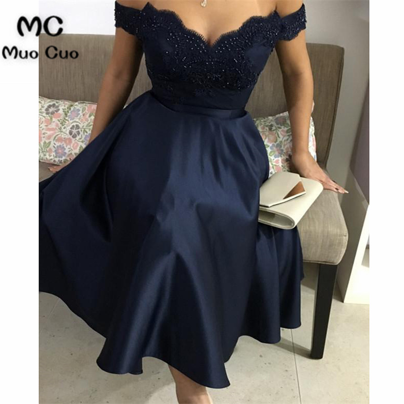 2019 Glamorous Evening Dresses Form Tea Length Dress Featuring Appliques Satin Vestidos de fiesta Formal Evening