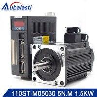 Aubalasti Servo Motor Driver AC Servo Motor Kit 110ST M05030 220V 1.5KW 4N.M 3000rpm AASD 30A For Engraver and Cutting Machine