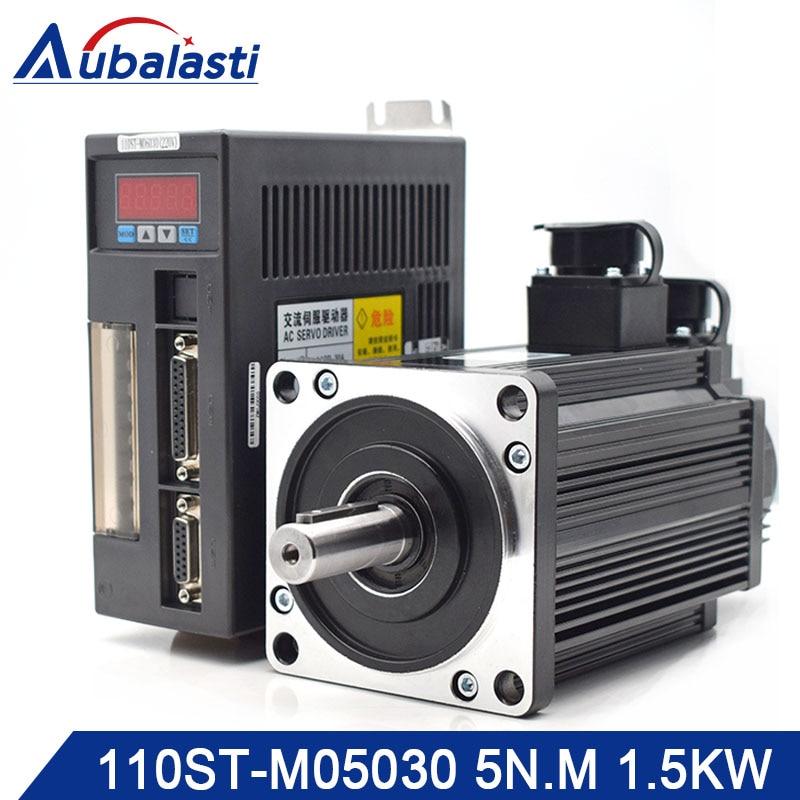 Kit 110ST-M05030 Aubalasti Servo Driver de Motor AC Servo Motor 220 V 1.5KW 4N. M 3000 rpm AASD 30A Para Gravador e Máquina De Corte