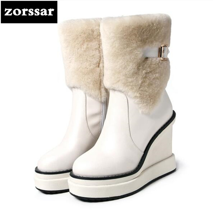 {Zorssar} Winter fur Women Boots Wedges Leather mid-calf Snow Boots Female Warm Plush Insole shoes High Quality Botas Mujer zorssar 2019 women s shoes winter plush women snow boots cow suede leather flat ankle boots female warm fur insole botas mujer