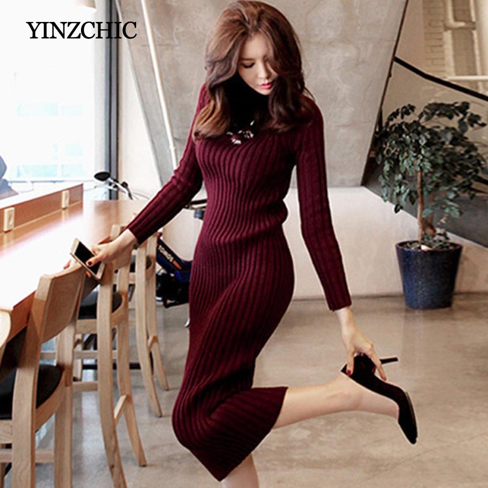 New Autumn Womans Knit Mid Dress Half-Turtle Neck Winter Basic Dresses
