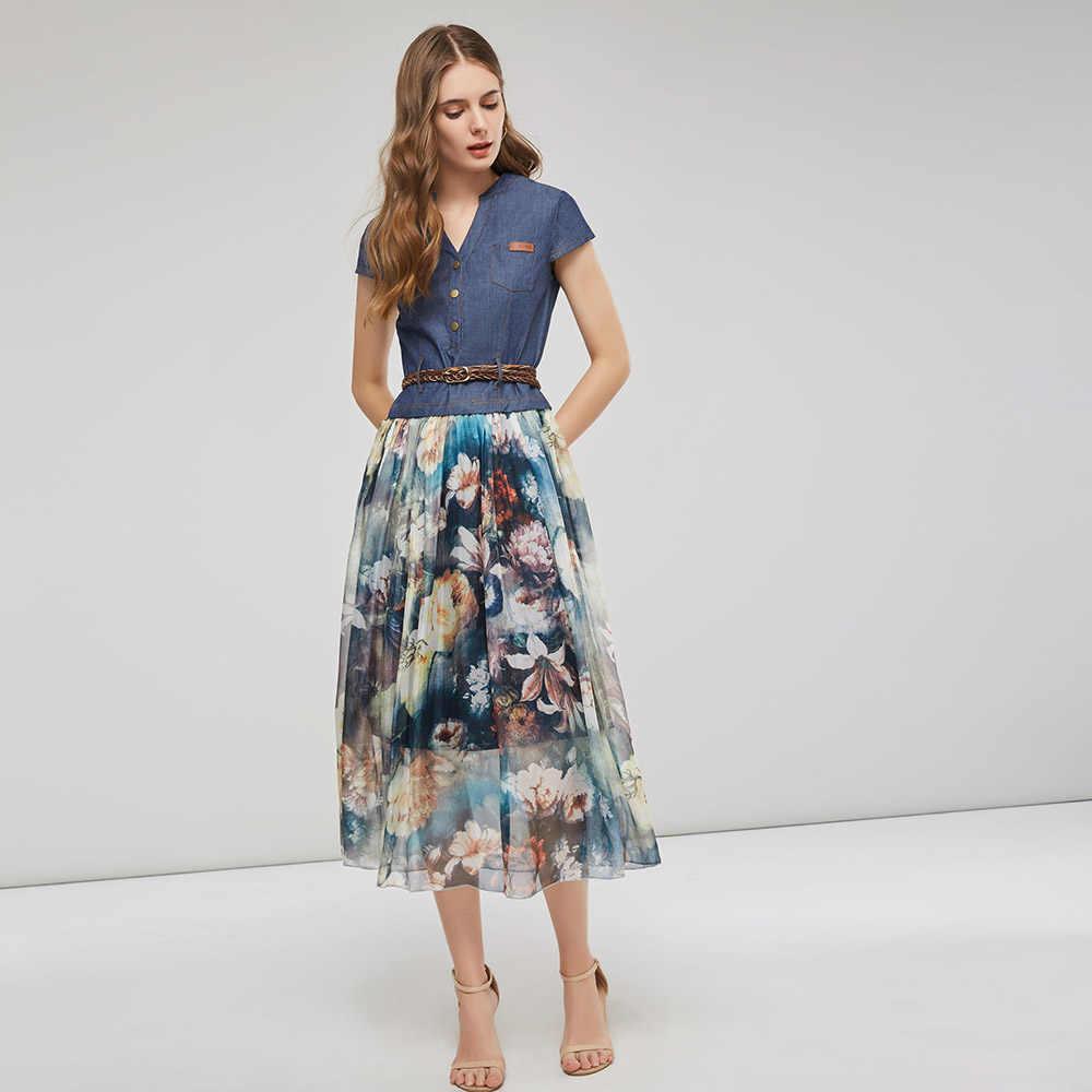 Женское джинсовое платье с цветочным принтом, летнее платье в стиле пэчворк с поясом и пуговицами, повседневные платья для отдыха в стиле бохо, офисное шифоновое джинсовое Элегантное Длинное Платье Миди