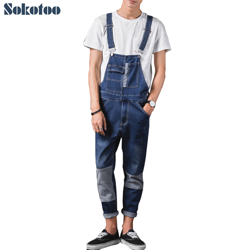 Sokotoo Men's patch pockets stretch denim bib overalls Ankle length slim patchwork suspenders jumpsuits Ninth jeans denim overalls male suspenders front pockets men s ripped jeans casual hole blue bib jeans boyfriend jeans jumpsuit or04
