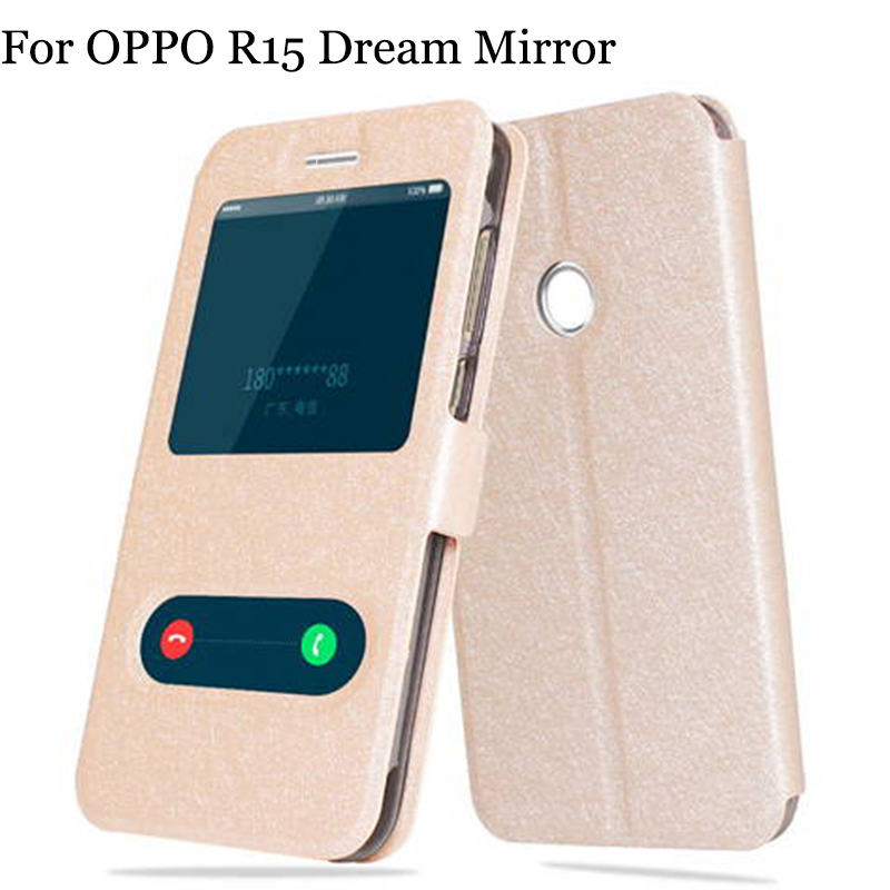 2PCS Open window For OPPO R15 Dream Mirror case leather Flip case PAAM00 back cover For OPPO R 15 Dream Mirror shell R15DM cases