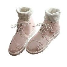 3b9f51b5 2018 nuevo otoño y el invierno de lana boca y botines botas cortas Rosa  plana caliente arte impermeable botas de las mujeres zap.