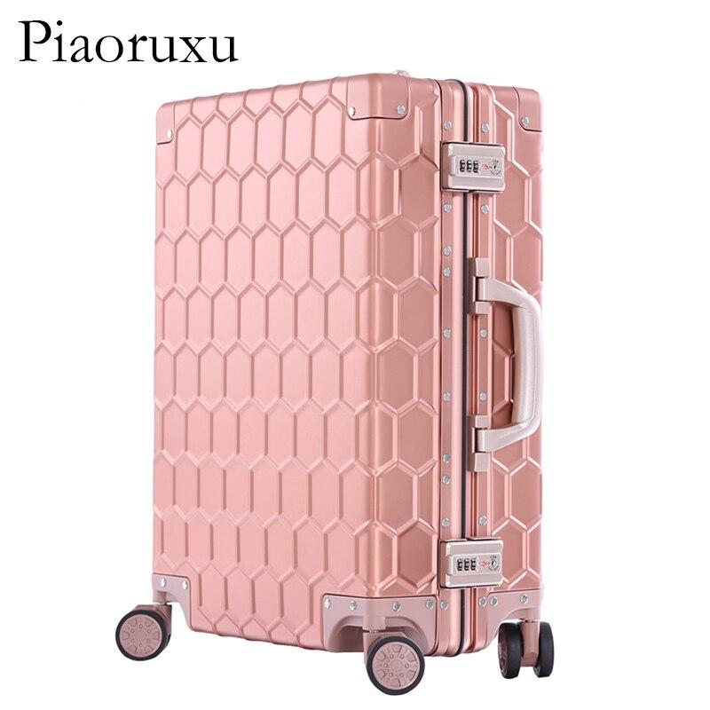 """Piaoruxu20 """"26"""" 29 """"100% aleación de aluminio y magnesio equipaje enrollable maleta de negocios para hombre maleta de viaje de Metal completo las mujeres rosa-in Maletas duras from Maletas y bolsas    3"""