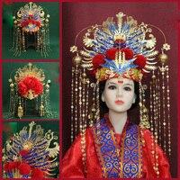 Long Tassel Imitate Wire Inlay Artwork Blue Cloisonne Empress Phoenix Tiara Ancient Chinese Blue Wedding Tiara