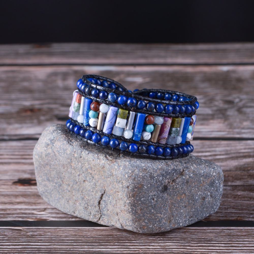 Wrap Bracelet Women Fashion Tube Shape Vintage Natural Stone Bracelet Gift For Women Leather Beaded Bracelet Drop Shipping