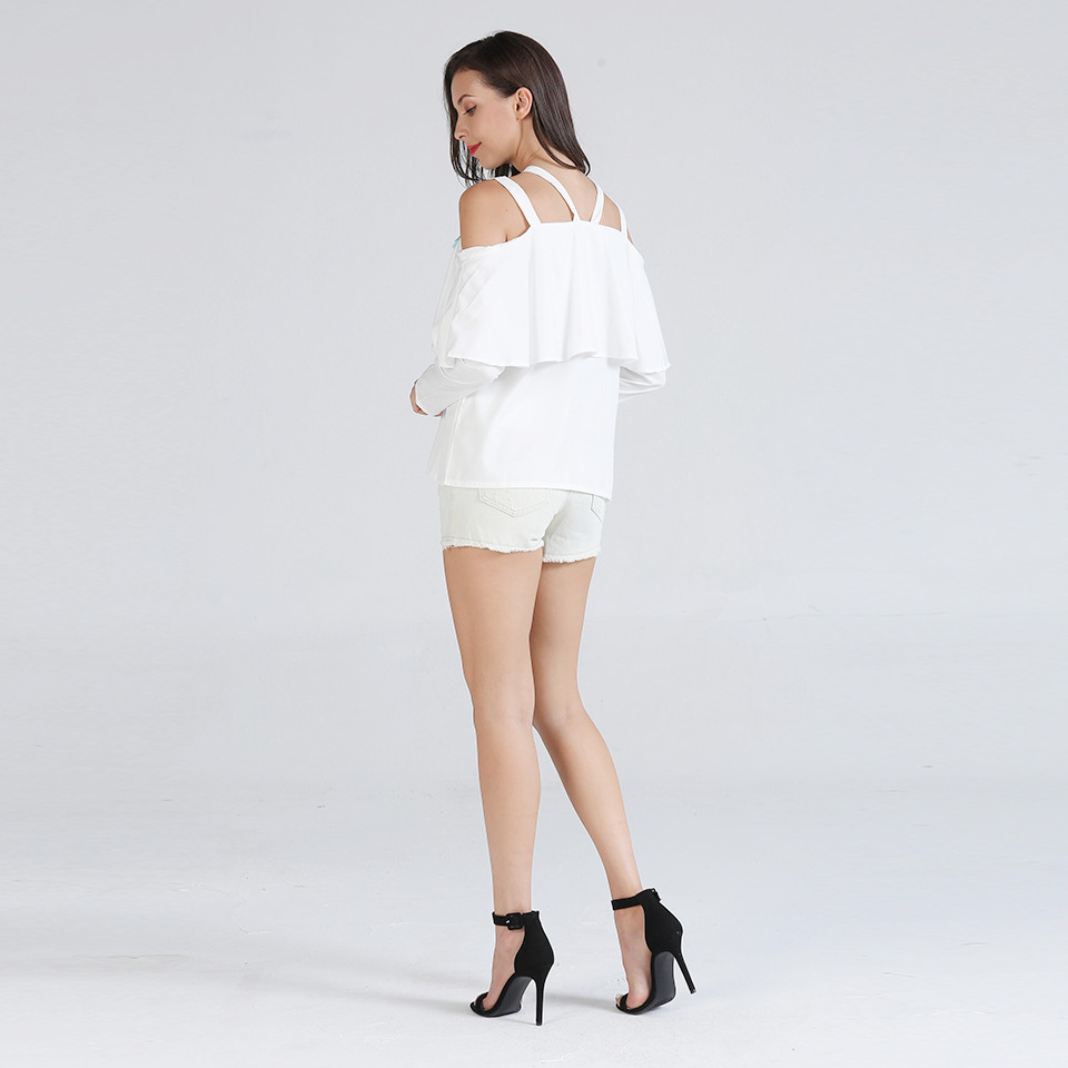 S XL women new ruffles strap slash neck tops lady slim casual leisure tops spring autumn pure color tops in Blouses amp Shirts from Women 39 s Clothing