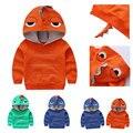 Dinosaurio lindo sudadera con capucha sudadera polar bebé niño chico niños ropa tops capa de la chaqueta del equipo del otoño con capucha sólido jersey clothing