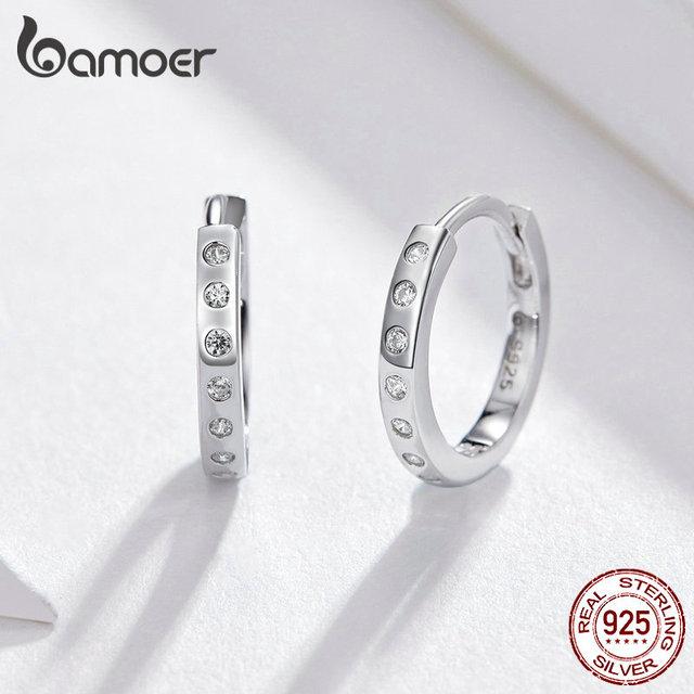 BAMOER Hoop Earrings 925 Sterling Silver Circle Earing  2