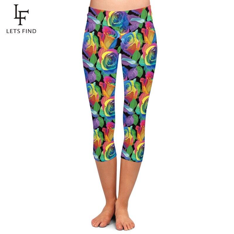 LETSFIND Brand New 2019 Colorful Flower Print High Waist Leggings Fashion Plus Size Women Casual Capri Leggings Summer