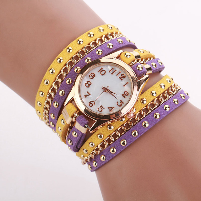 7 Colors Luxury Brand Women's Watches Casual PU Leather Korean Crystal Rivet Bra
