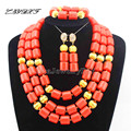 Classic Nigerian Wedding African Coral Beads Jewelry Set Costume Jewelry Sets Free Shipping L1012