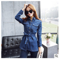 Зима осень женская длинные стиль ковбой джинсовые рубашки С Длинным рукавом женский джинсовые рубашки ковбоя пальто