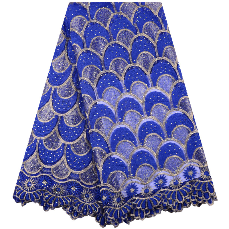 2018 Nigerian Tulle Lace Fabric Fast Shipping African Lace Fabric For Wedding Royal Blue Embroidery Gold