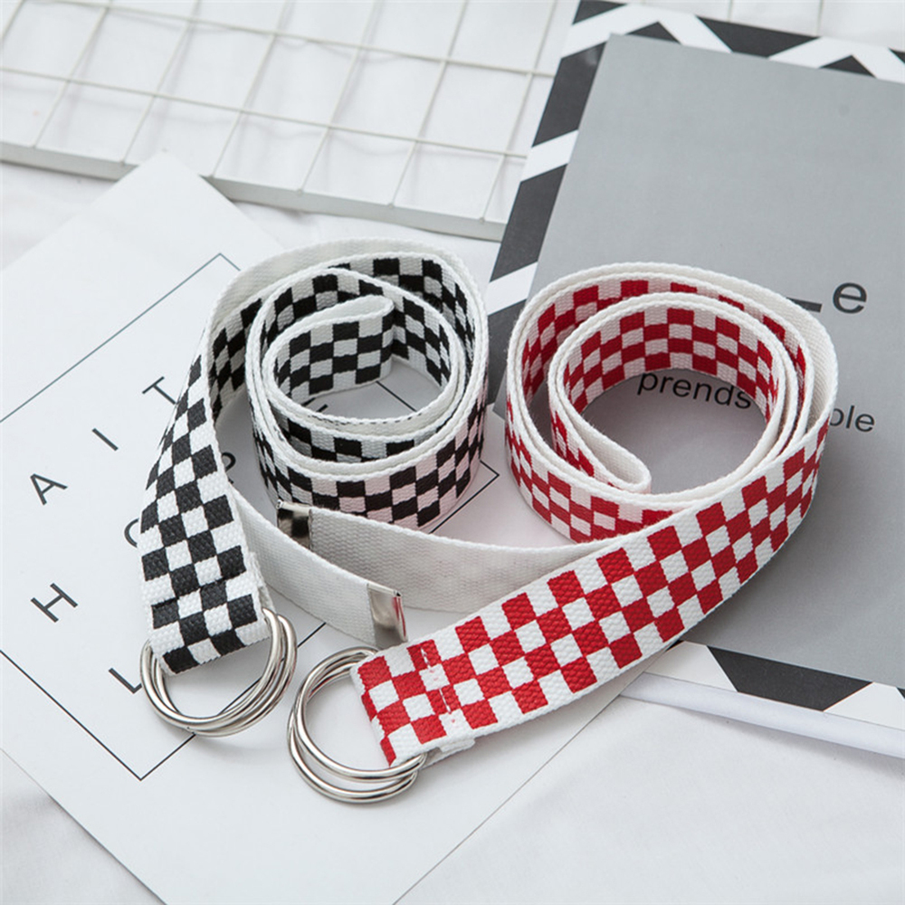 Belt 2019 Fashion Punk Checkered Belt Waistband Long Black And White Plaid Checkerboard Couple Checkered Canvas Women New Belts