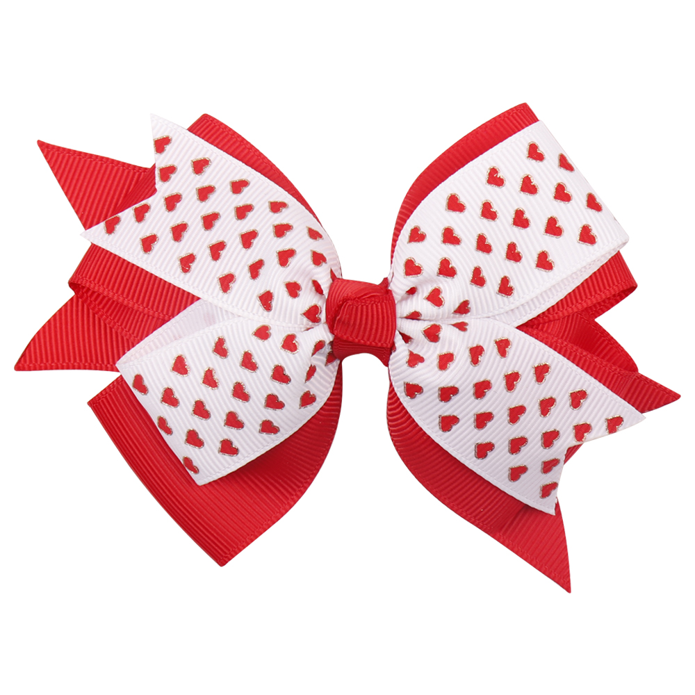 Accessories Mother & Kids 4.5 Sweet Heart Print Hair Bows Pink Red Dot Hair Clips For Girls/kids Lovely Valentines Day Hairgrips Hair Accessories