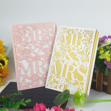 44Pcs hollow carving romantic MR&MRS cover wedding party invitation card birthday Christmas holiday 7ZH11