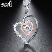 Effie Queen New Shiny Flickering Design Zircon Crystal Pendant 925 Sterling Silver Necklaces Chain Nice Gift