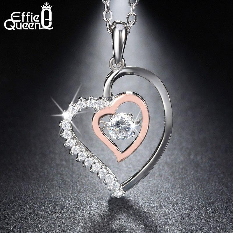 Effie Queen New Shiny Flickering Design Zircon Crystal Pendant 925 Sterling Silver Necklaces Chain Nice Gift BN15