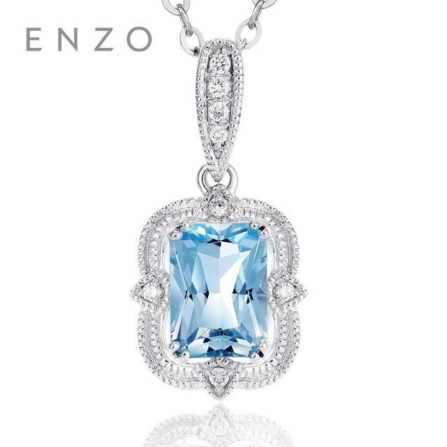 Precious Collections Blue Topaz/Diamond Pendant 18K White Gold Natural Gemstone Fancy Design For Woman's pendants Necklace 1