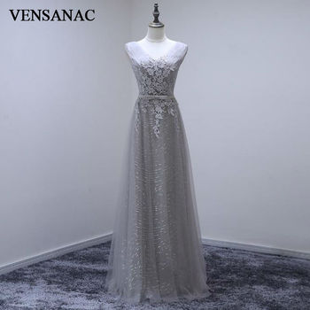 VENSANAC 2017 New A Line Lace Appliques V Neck Long Evening Dresses Sleeveless Elegant Sequined Sash Embroidery Party Prom Gowns