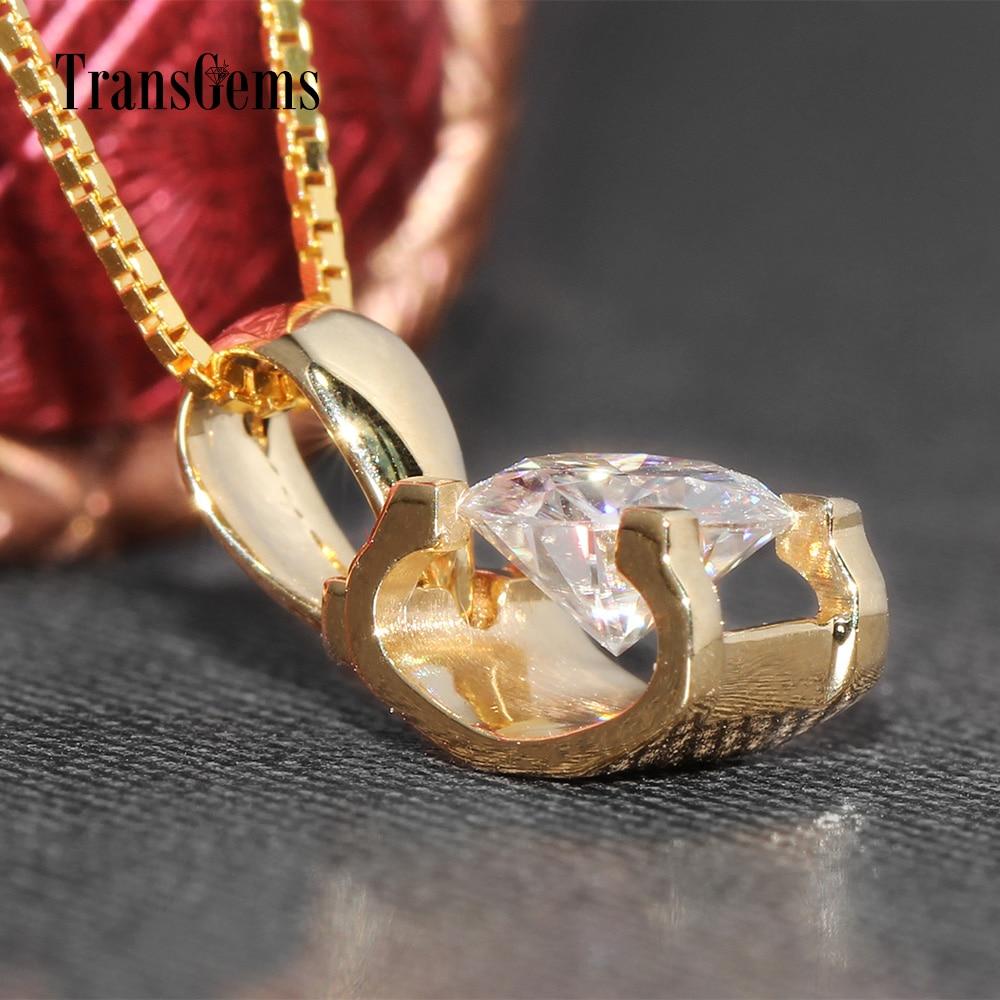 TransGems 18 Karat Gelbgold 1 Karat 6,5 mm Labor Moissanite Diamant - Edlen Schmuck - Foto 6