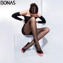 BONAS Black Nylon Thin Pantyhose For Women Solid Color Fashion Slim Tights Summer Style Spandex Girls T Crotch Hosiery Seamless