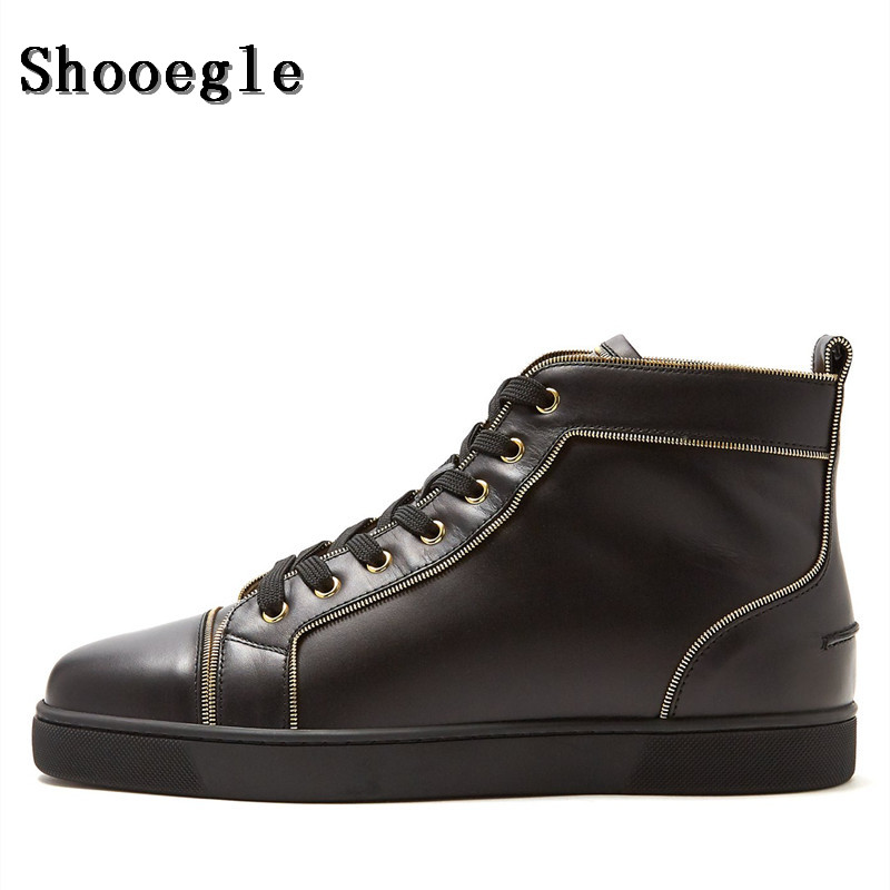 SHOOEGLE Fashion Black Leather Men Shoes Lace-up High-Top Flat Sneakers Sapatos Masculinos Plus Size EU39-EU47 Free Shipping glowing sneakers usb charging shoes lights up colorful led kids luminous sneakers glowing sneakers black led shoes for boys