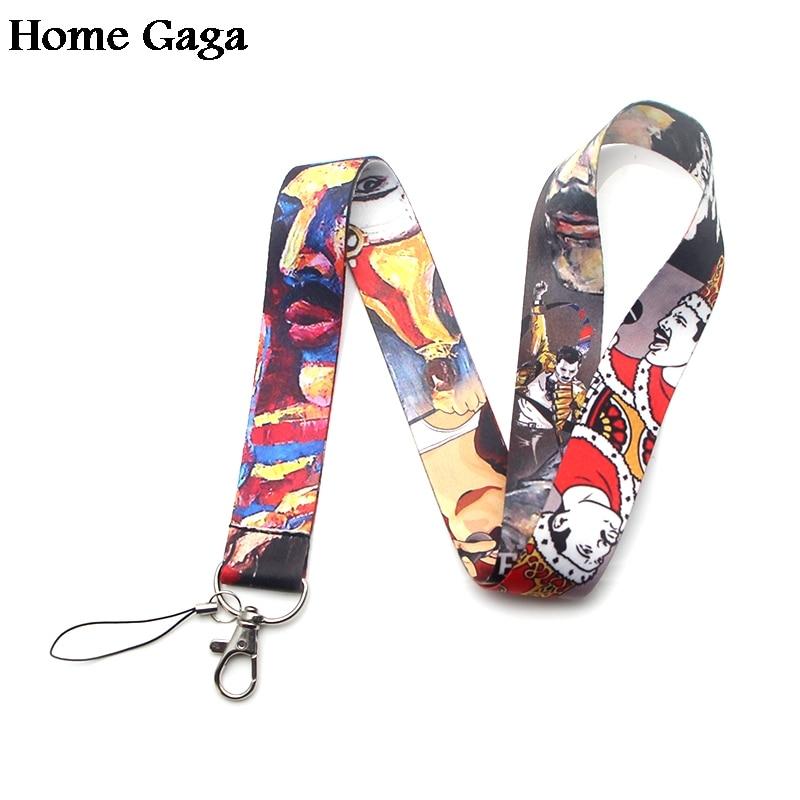 Homegaga Freddie Mercury keychain id lanyard webbing ribbon neck strap  fabric badge phone holder necklace accessories D1609