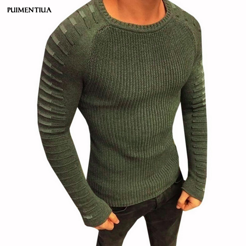 Puimentiua 2019 Men's Knitwear Round Neck Long Sleeve Sweater Pleated Design Mohair Tops Winter Autumn Fit Slim Male Sweater