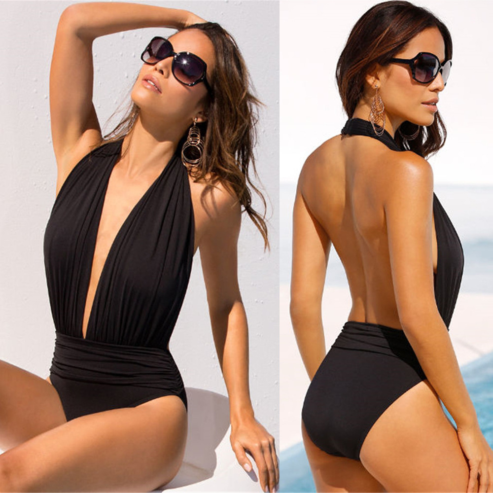Women Sexy Black Deep V Backless One Piece Swimsuit Female Hanging Neck Bikini Monokini Swimwear Beachwear Bathing Suit