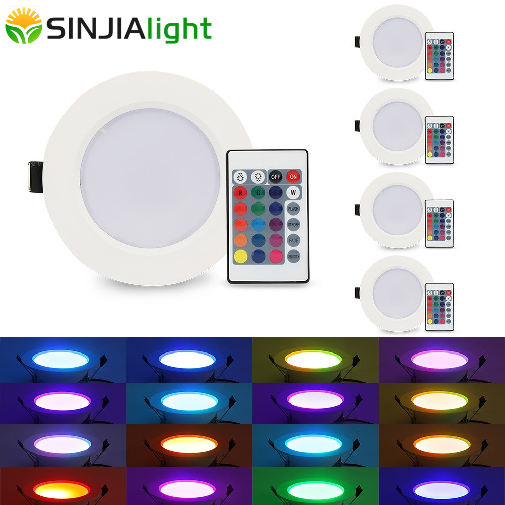 5pcs / lot 10W 5W RGB LED Panel Lys Runde Ceiling Lights med fjernbetjening Party Led Lamper Dekoration til Foyer Bedroom