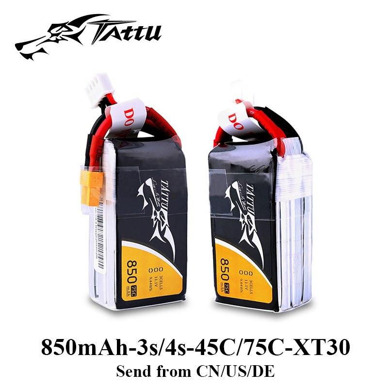 цена на Tattu Lipo Battery 850mAh 3S 4S Lipo Battery 11.1V 14.8V XT30 Connector for 150 130 Size Drone FPV Quadcopter Frame Mini Drone
